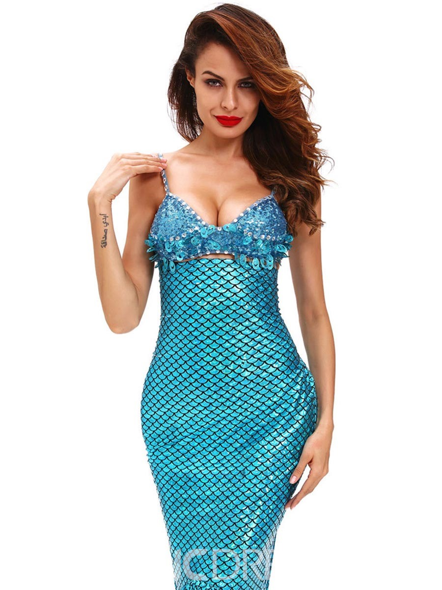 Ericdress Blue Strapless Sequins Mermaid Cosplay Costume