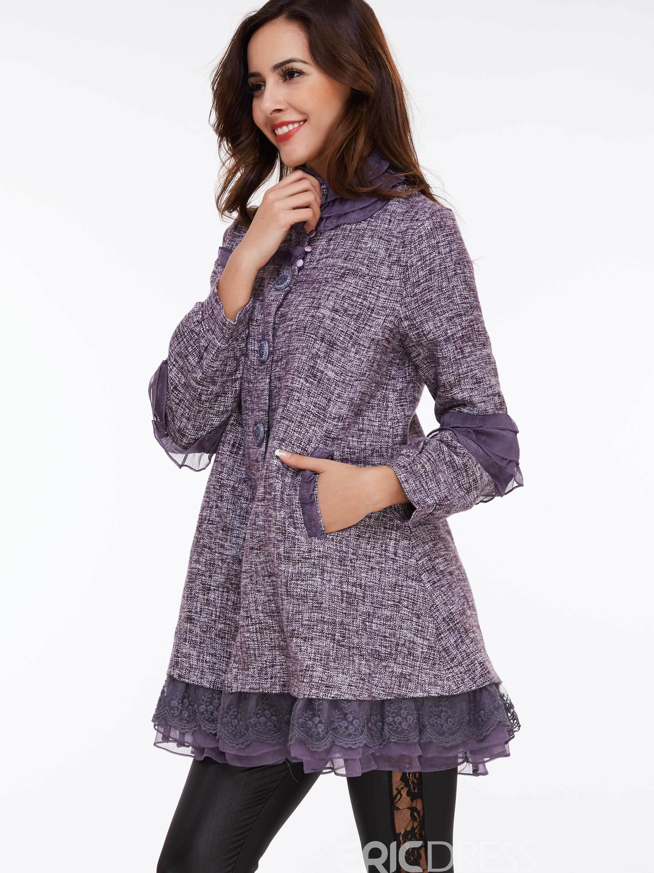 Ericdress Single-Breasted Mesh Patchwork Coat