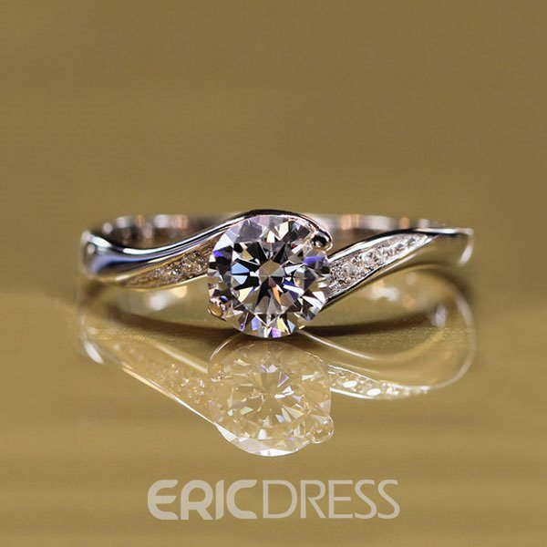 Ericdress 0.85CT Platinum Plated Round Cut Wedding Ring