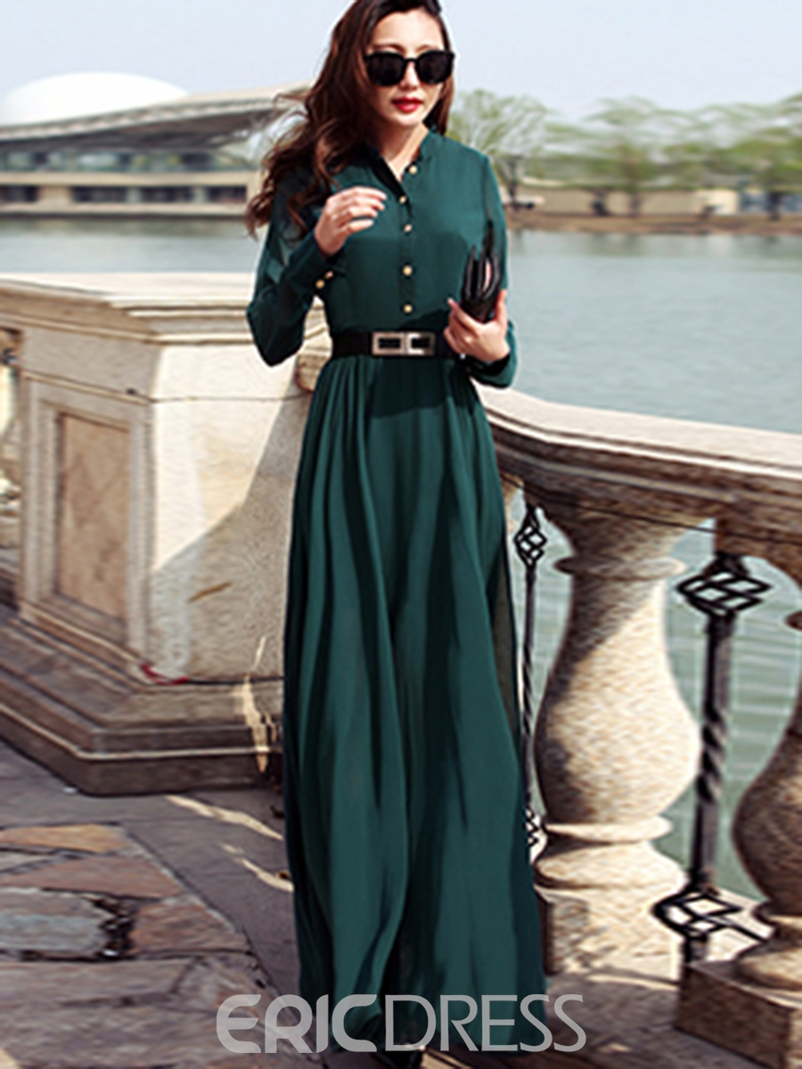 Ericdress Stand Collar Single-Breasted Maxi Dress