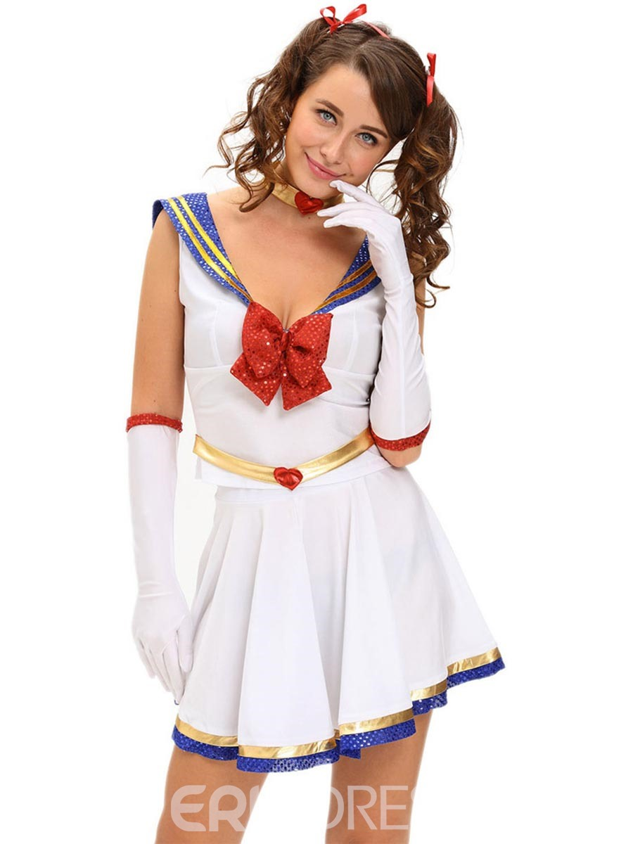 Ericdress Deep V-Neck Bowknot Above Knee Sailor Cosplay Costume