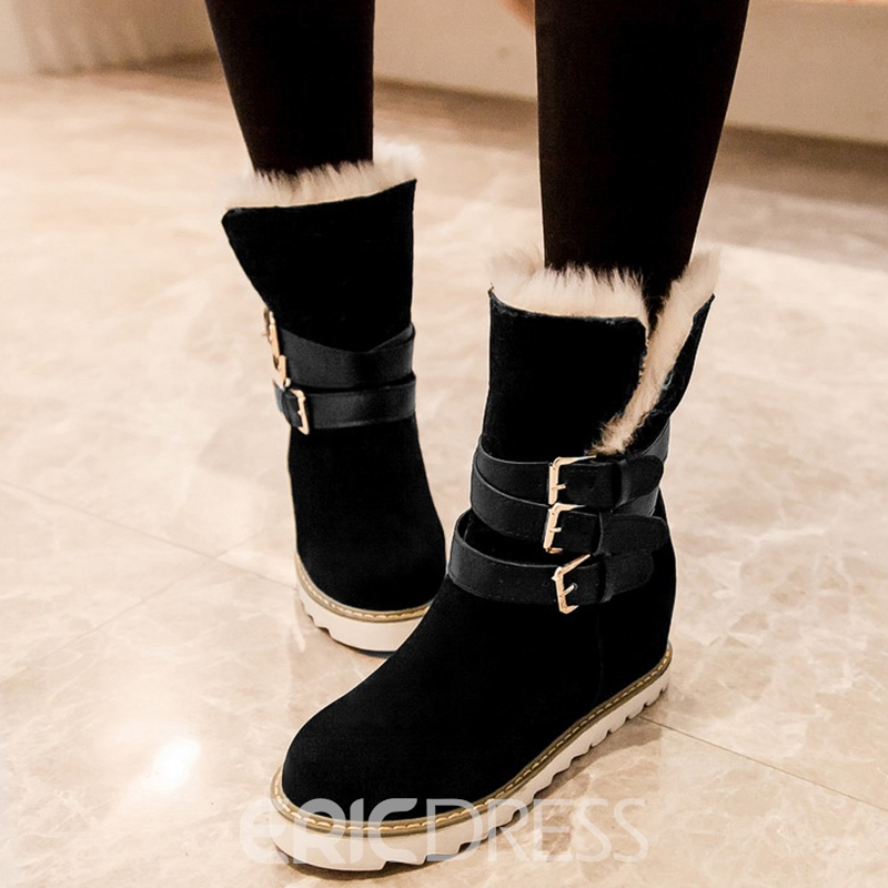 Ericdress Suede Buckles Short Floss Snow Boots