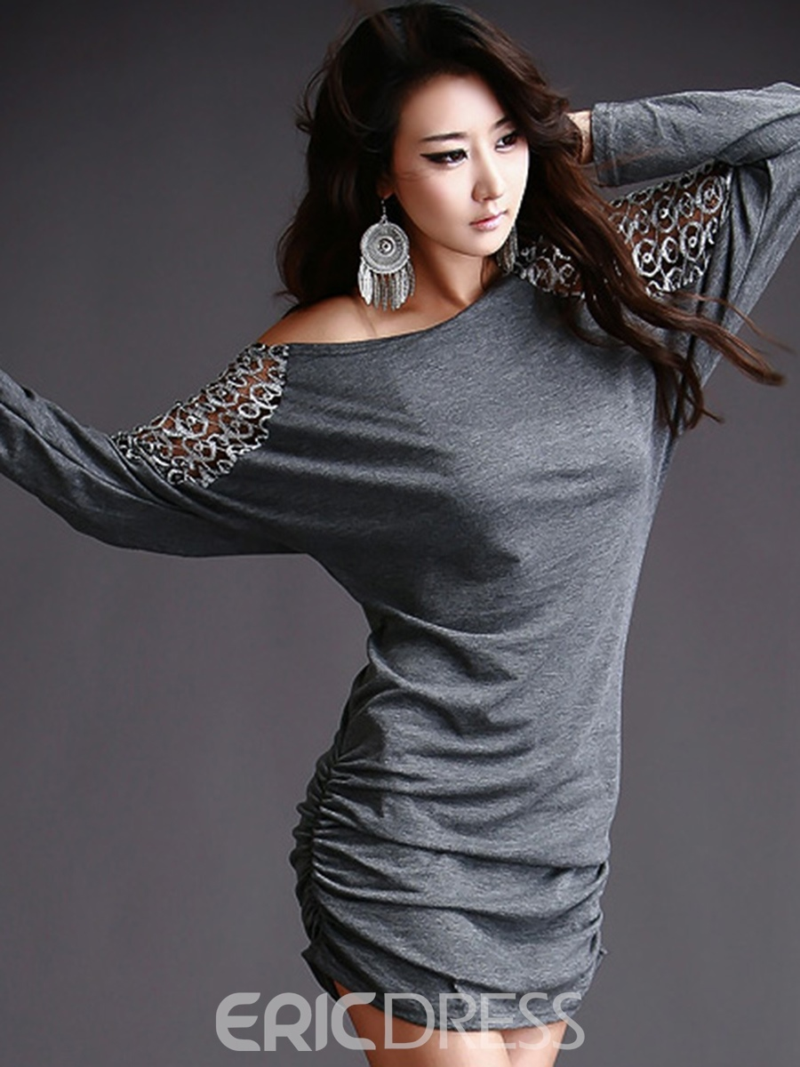 Ericdress Plated Embroidery Batwing Sleeve Bodycon Dress