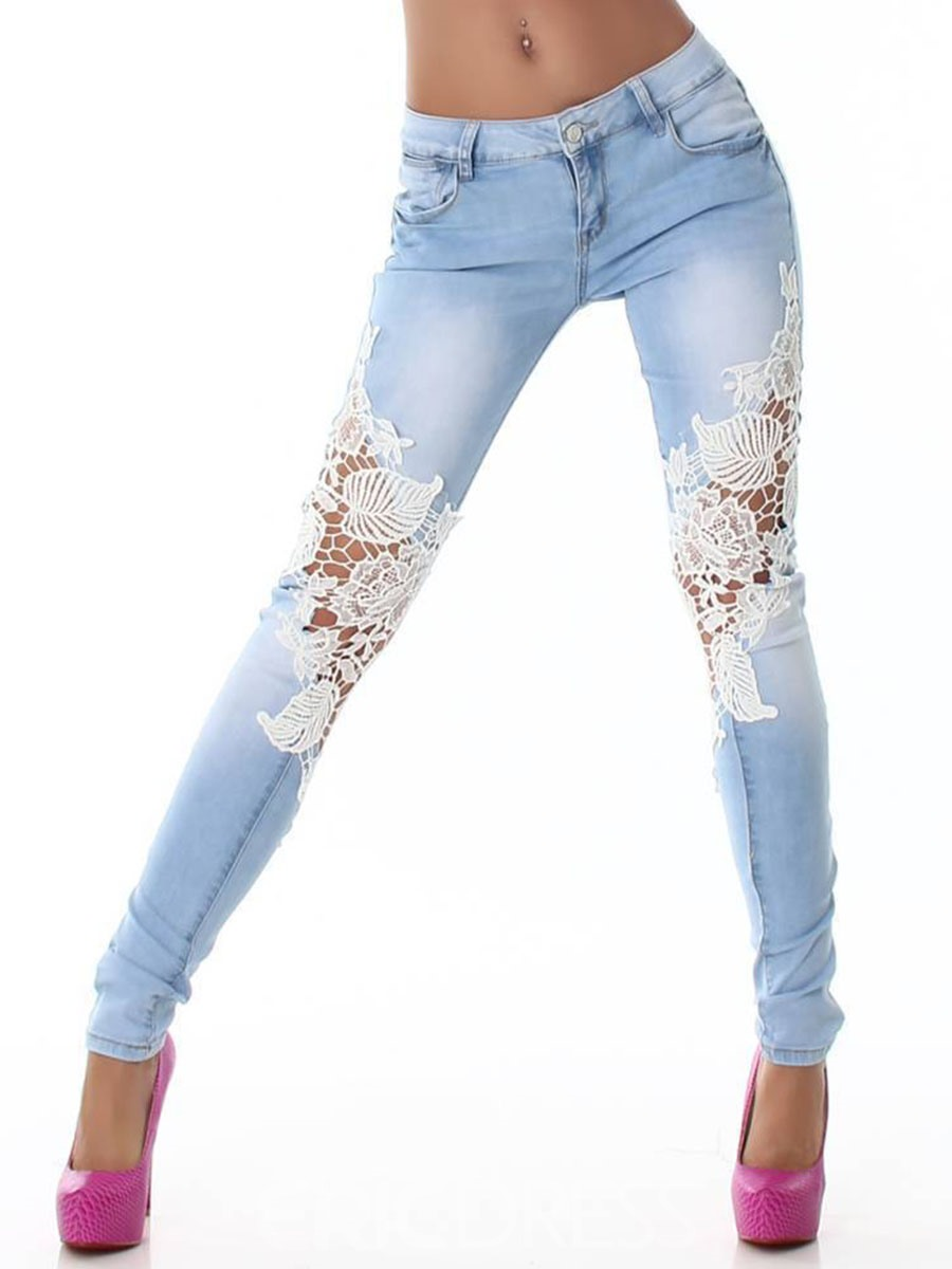 Ericdress Lace Hollow Washable Low-Waist Jeans
