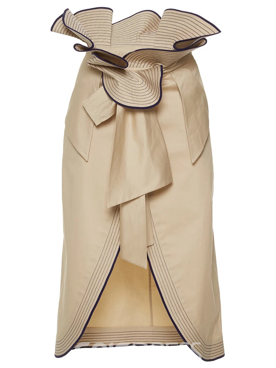 Ericdress Solid Color Falbala Usual Skirt