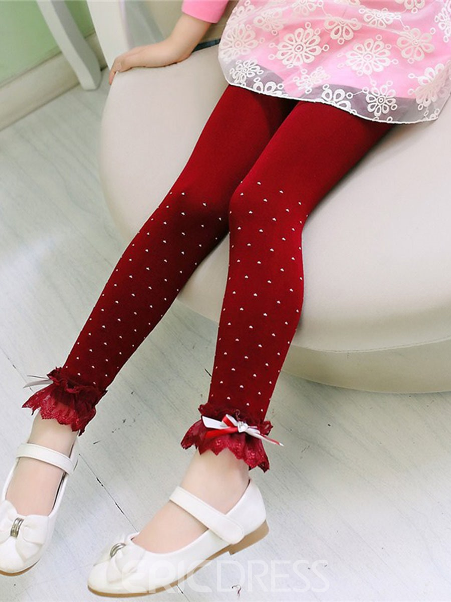 Ericdress Polka Dots Lace Girls Leggings