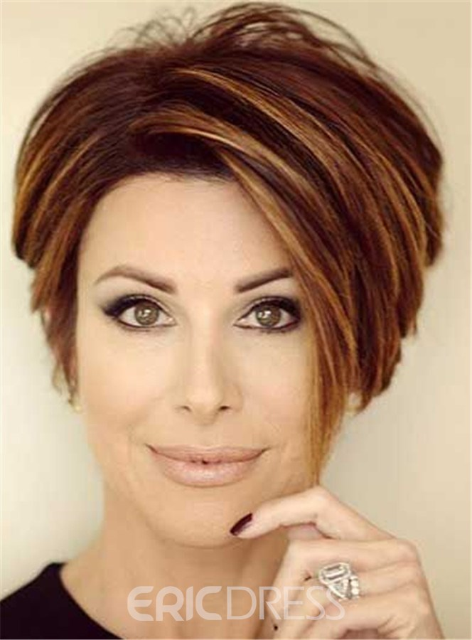 Ericdress Short Straight Mixed Color Lob Lace Front Human Hair Wig 6 Inches