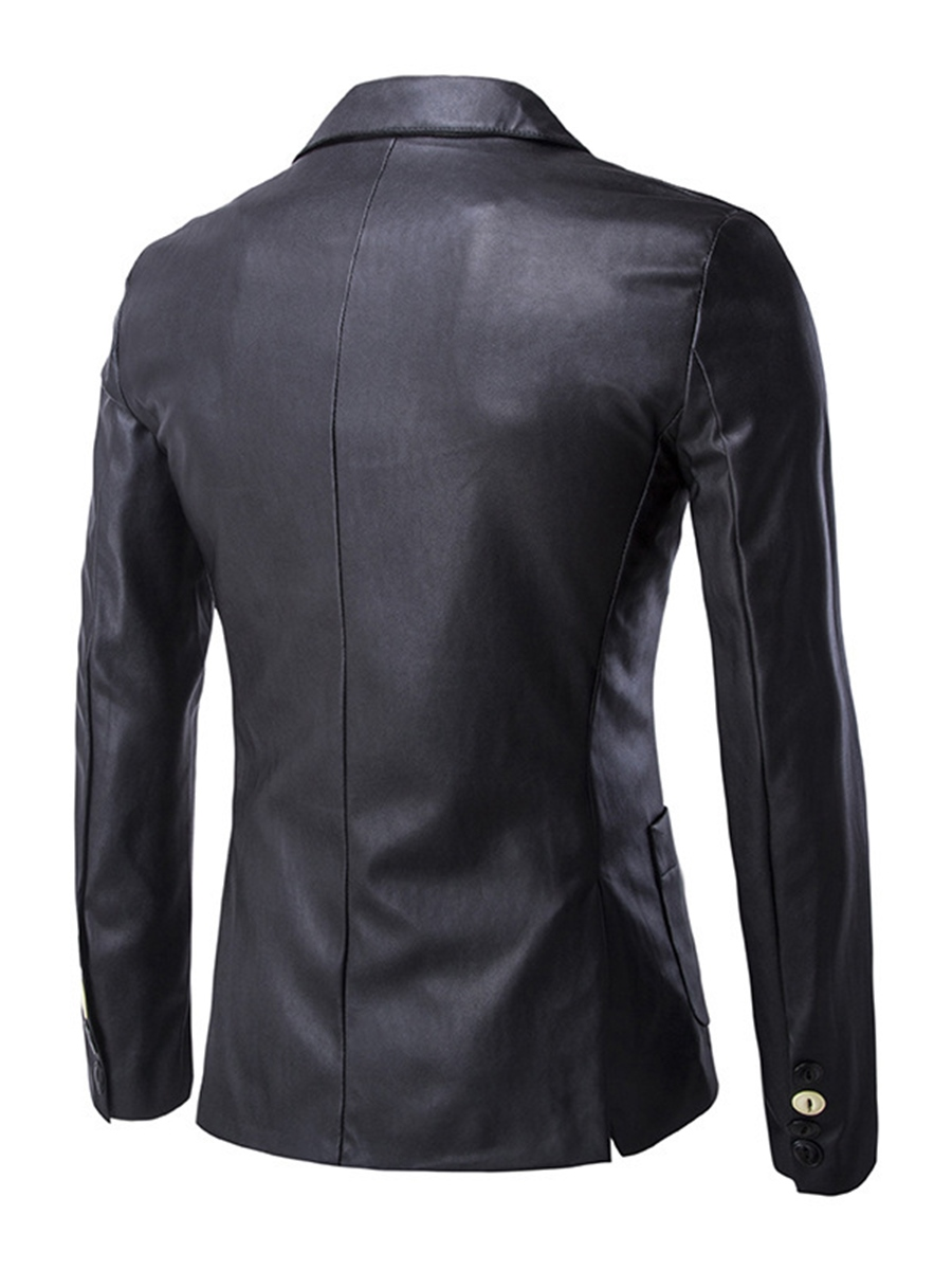 Ericdress Solid Color One Button PU Men's Blazer