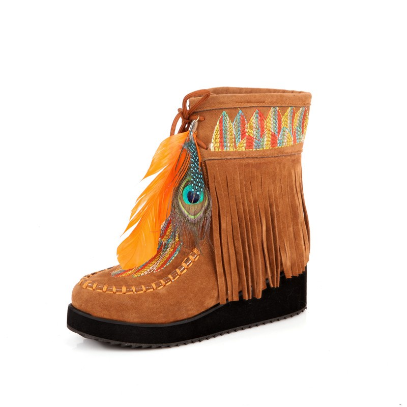 Ericdress Ethnic Suede Tassels Ankle Boots