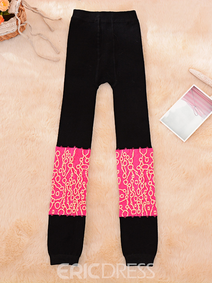 Ericdress Color Block Embroidery Girls Leggings