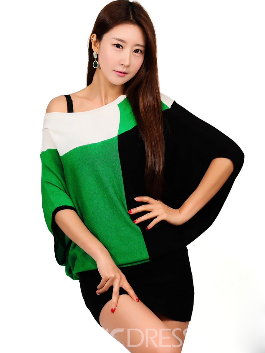 Ericdress Color Block Platinum Plated Batwing Sleeve Bodycon Dress
