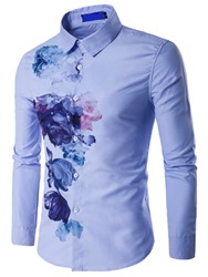 Ericdress Vogue Ink Print Long Sleeve Mens Shirt