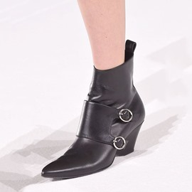 Ericdress Cool Black Wrap Buckle Pointed Toe Ankle Boots