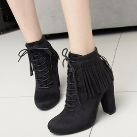 Ericdress Modern Fringe Lace up High Heel Boots