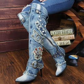 Euramerican Stylish Denim Knight Boots