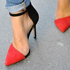 Ericdress Contrast Color Pointed Toe Stiletto Sandals