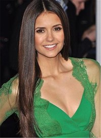 Ericdress Nina Dobrev Long Straight Middle Part Hairstyle Lace Front Human Hair Wigs 24 Inches