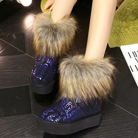 Ericdress Delicate Fur Letter Print Snow Boots