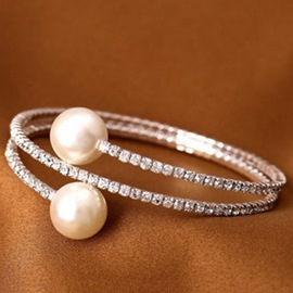 Ericdress Full Rhinestone Pearls Inlaid Bracelet