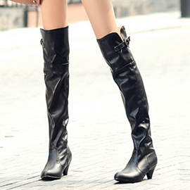 Ericdress PU Low Heel Thigh High Boots