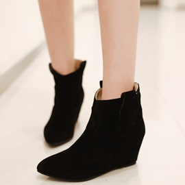 Ericdress Suede Point Toe Elevator Heel Ankle Boots