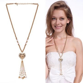 Ericdress Rhinestone Heart-Shaped Pendant Long Necklace