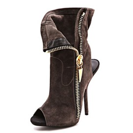 Ericdress Suede Backless Side Zipper High Heel Boots