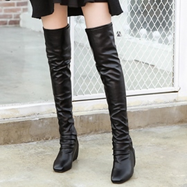 Ericdress PU Point Toe Elevator Heel Thigh High Boots