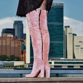 Ericdress Fashion Pink Velvet Chunky Heel Thigh High Boots