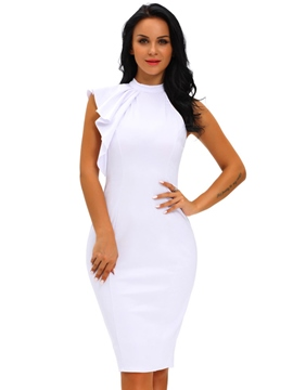 Ericdress High Neck Asymmetrical Ruffles-Trim Sleeve Bodycon Dress