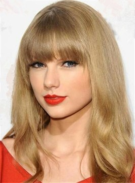 Ericdress Taylor Swift Long Wavy Hair With Full Bangs Capless Human Hair Wigs 20 Inches