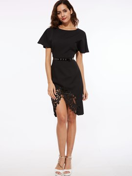 Ericdress Patchwork Asymmetric Little Black Dress