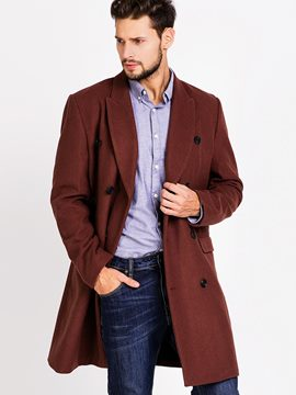 Ericdress Solid Color Double-Breasted Vogue Men's Woolen Coat
