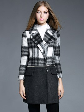 Ericdress European Plaid Color Block Patchwork Coat