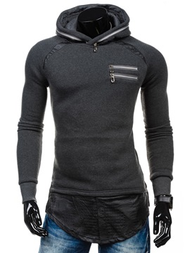 Ericdress Zip Patchowrk Pullover Casual Men's Hoodie