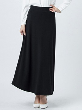 Ericdress Solid Color Vintage Pleated High-Waist Column Skirt