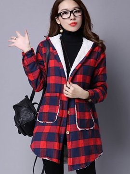 Ericdress Loose Plaid Fleece Blouse