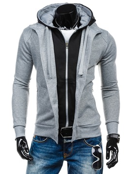 Ericdress Unique Patchwork Zip Casual Men's Hoodie