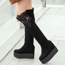 Ericdress Lace Patchwork Platform Thigh High Boots