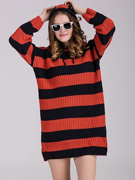Ericdress Hooded Strip Patchwork Loose Sweater Dress
