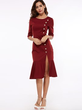 Ericdress Plain Half Sleeve Mermaid Patchwork Sheath Dress