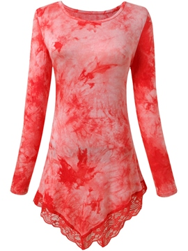 Ericdress Slim Lace Patchwork Round Neck Blouse