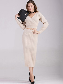 Ericdress Solid Color Sweater Skirt Suit