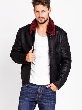 Ericdress Faux Shearling Zipper Slim Patchwork Collar Men's Jacket