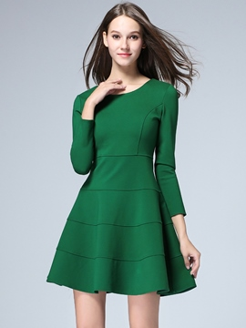 Ericdress Patchwork Stylelines Round Collar A-Line Sweater Dress