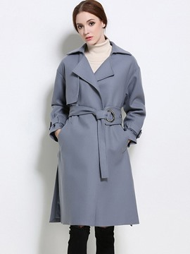 Ericdress European Solid Color Polo Slim Coat