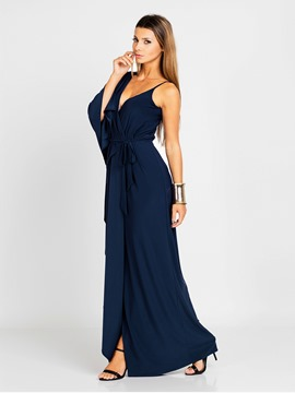 Ericdress V-Neck Solid Color Hollow Maxi Dress