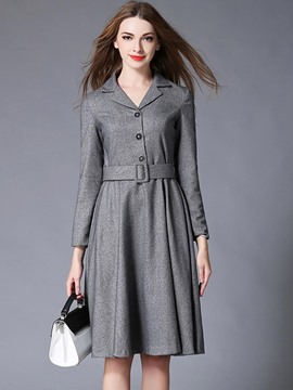Ericdress Notched Lapel Single-Breasted Belt Pleated Casual Dress