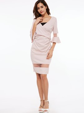 Ericdress Mesh Patchwork Bell Sleeve V-Neck Sheath Dress