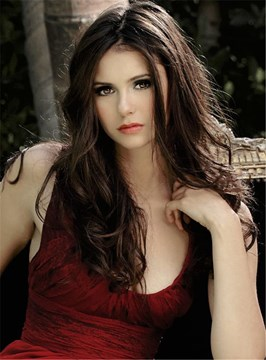 Ericdress Nina Dobrev Long Wavy Middle Part Hairstyle Lace Front Human Hair Wigs 20 Inches